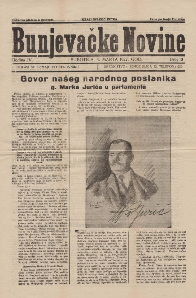 Bunjevacke novine, Marko Juric, 4 3 1927