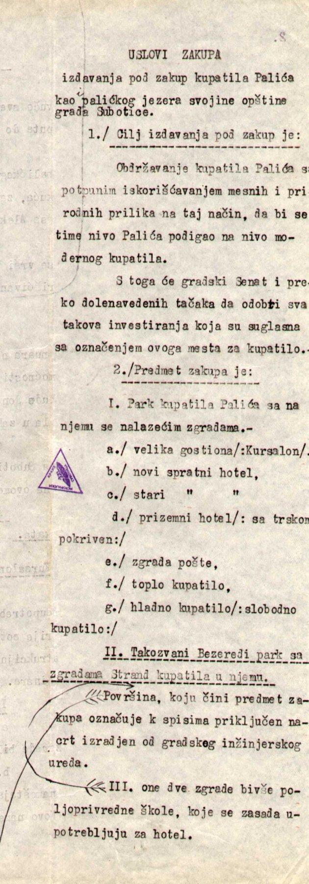 IAS F 47 XVIII 38 1925 uslovi zakupa Palića