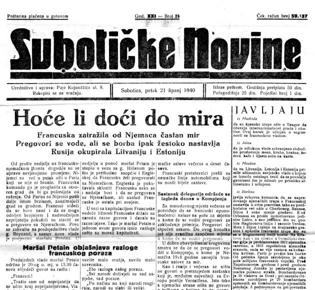 Suboticke novine 21 6 1940