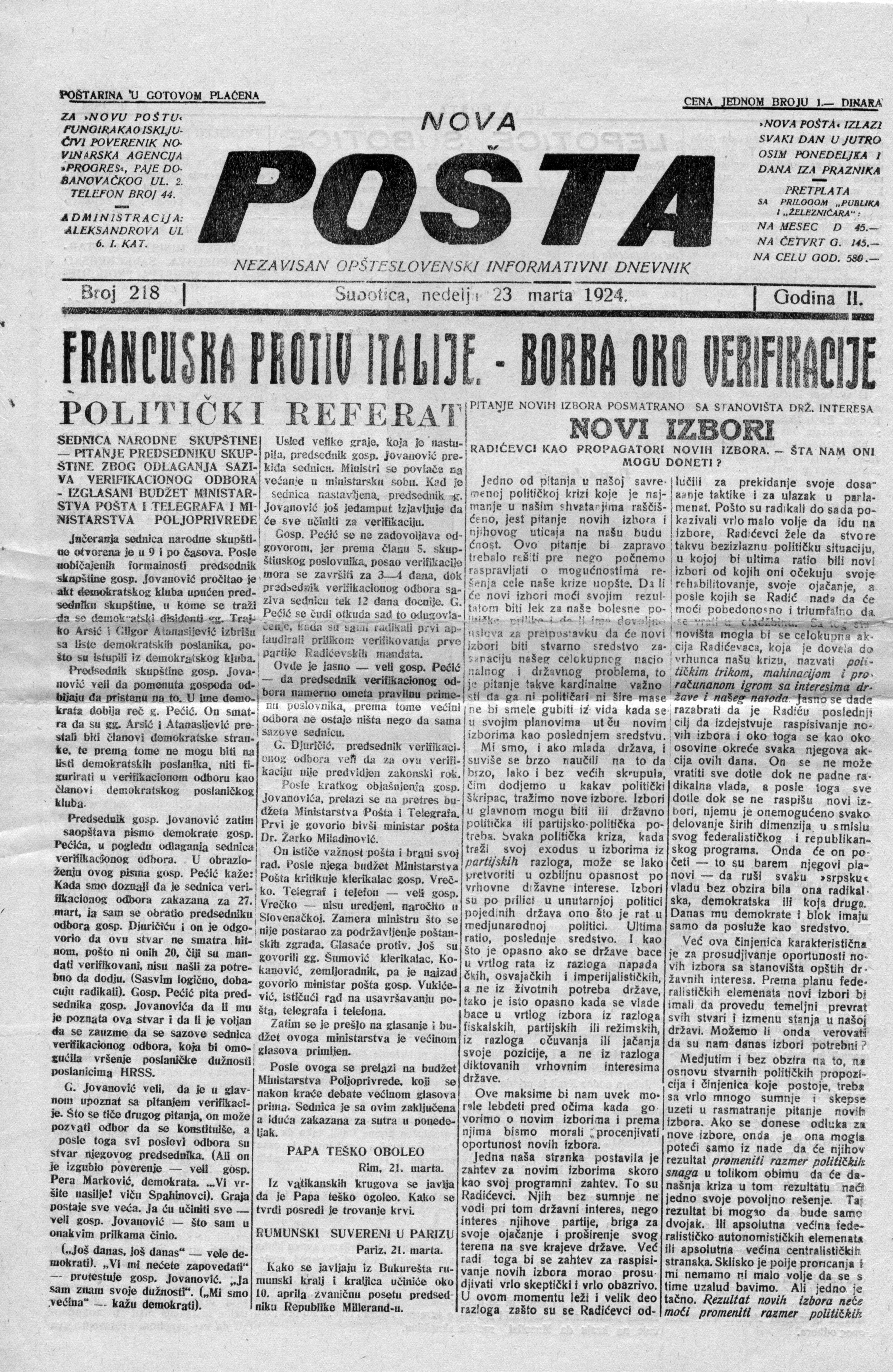 Nova Posta 23 mart 1923