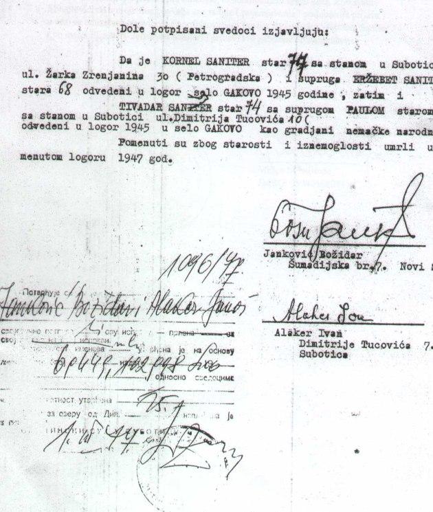 SANITER izjava 1977